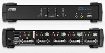 Aten CS1764A 4-Port USB 2.0 DVI-I(single link) Res1920x1200 KVMP, USB2.0 hub, 2x1.2m and 2x1.8m USB KVM cable. Audio enabled. (Sturdy type)