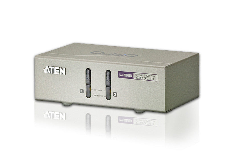 Aten CS72U 2-port USB KVM with 2x1.2m USB KVM cable. Audio enabled (Push button only)