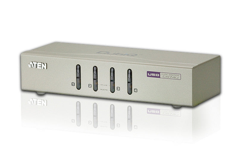 Aten CS74U 4-port USB KVM with 2x1.2m and 2x1.8m USB KVM cable. Audio enabled. (Push button only)