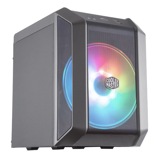 H100 Compact mITX Mesh Case with 200mm ARGB Fan and Built-In Handle