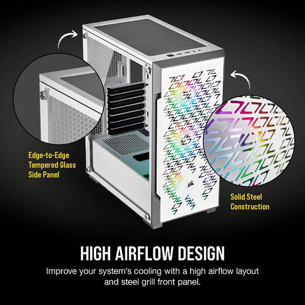 iCUE 220T RGB Airflow Tempered Glass Mid-Tower Smart Case, White