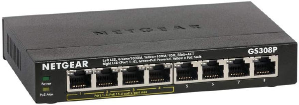 GS308P 8-Port Gigabit Ethernet Unmanaged PoE Switch - with 4 x PoE, 55W