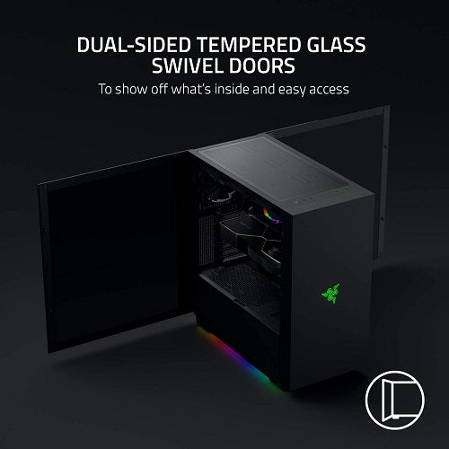 Tomahawk E-ATX Gaming Case with Razer Chroma RGB Dual-Sided TG Swivel Doors