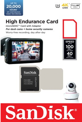 SDSQQNR High Endurance UHS-I C10 U3 V30 4K R100/W40 MicroSD Card w/Adapter