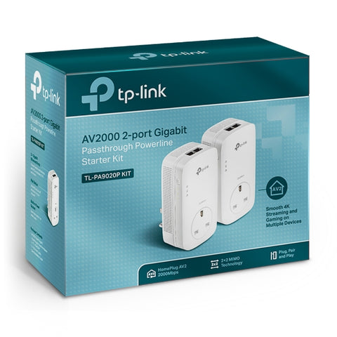 TL-PA9020P KIT AV2000 2-Port Gigabit Passthrough Powerline Starter Kit