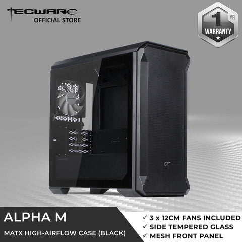 Alpha M TG mATX Case - Black | 3x120mm Fan | Front Mesh | Side TG | High Airflow