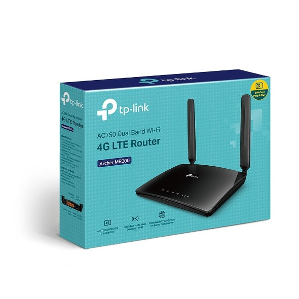 Archer MR200 AC750 Wireless Dual Band 4G LTE Router ( With SIM Card Slot )