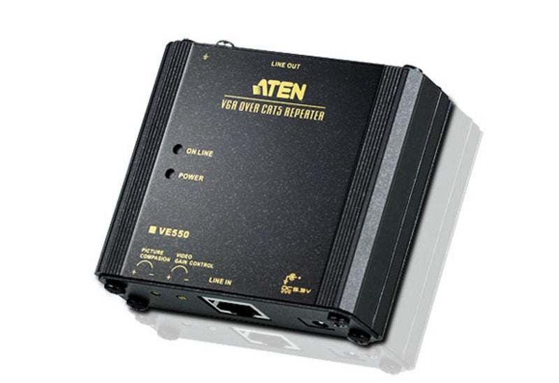 Aten VE550 VGA Over Cat5 Repeater. Double VGA extension distance. VGA gain control.