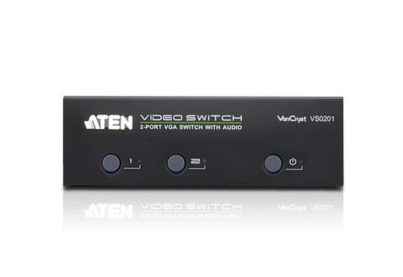 Aten VS0201 2 Port Video(VGA) Switch .1920x1440@65m; Audio enabled. Pushbutton/RS232/IR Remote Control