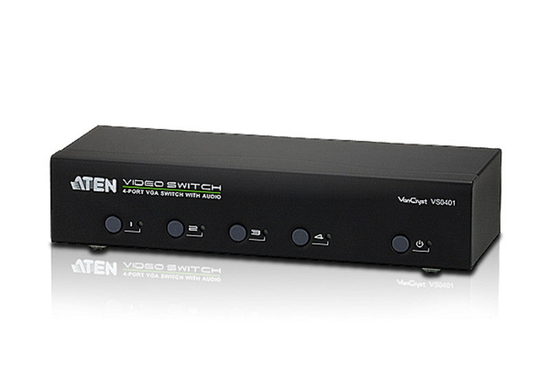 Aten VS0401 4 Port Video(VGA) Switch .1920x1440@65m; Audio enabled. Pushbutton/RS232/IR Remote Control