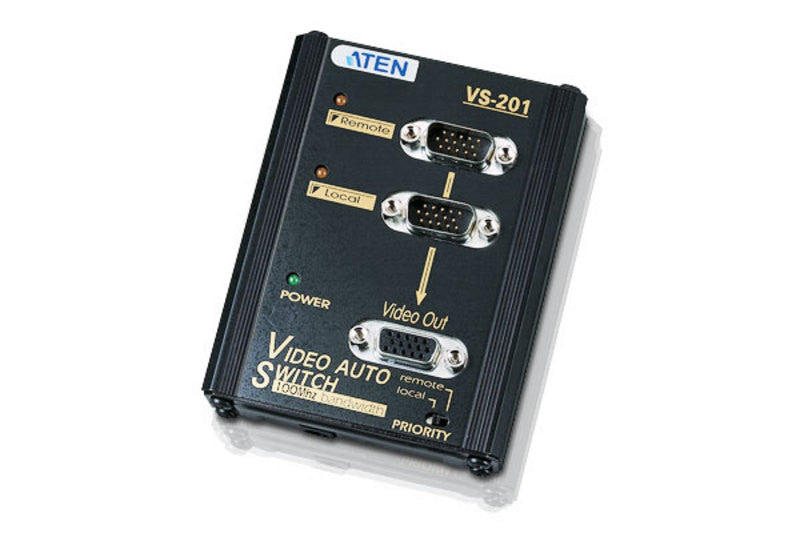 Aten VS201 2 Port Video(VGA) Switch.1024x768@65m; Auto Signal selection; w/o VGA cables