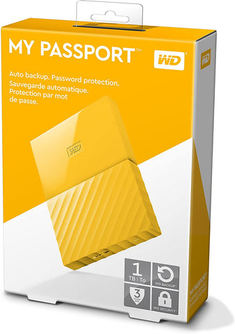 WD MY PASSPORT PORTABLE STORAGE 1TB USB 3.0 - YELLOW COLOR