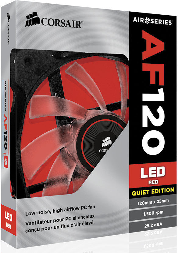 Corsair Air Series AF120 LED Quiet Edition High Airflow Fan Twin Pack - Red (0.72 KG)