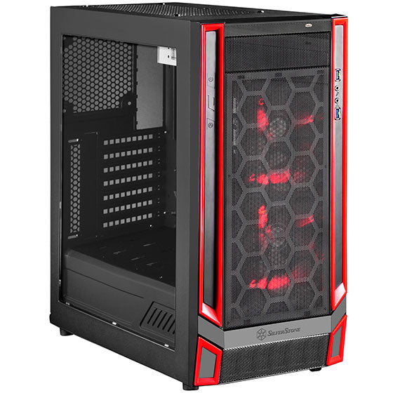 SilverStone SST-RL05BR-W ATX Casing(Red Trimming) with 2 x 140mm LED Fan and USB3.0 Type C on Front panel
