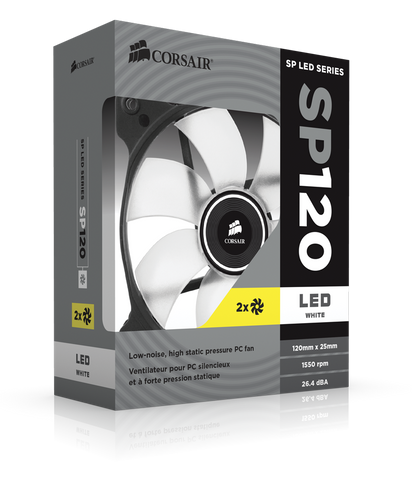Corsair Air Series SP120 LED White High Static Pressure 120mm Fan Twin Pack (0.72 KG)