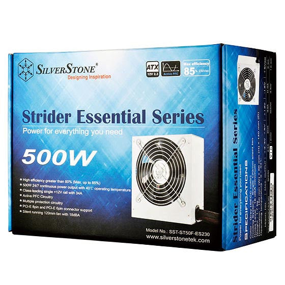 SilverStone SST-ST50F-ES230BK Strider Essential 500W 80 Plus  Single +12V Rail (support only 230V)