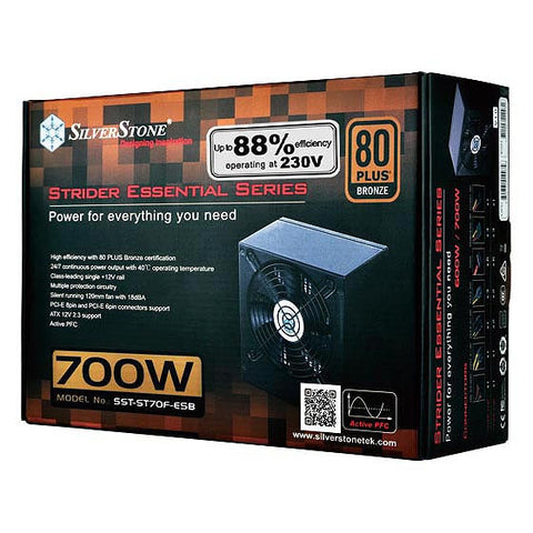 SilverStone SST-ST70F-ESB Strider Essential 700W 80 Plus Bronze  Single +12V Rail