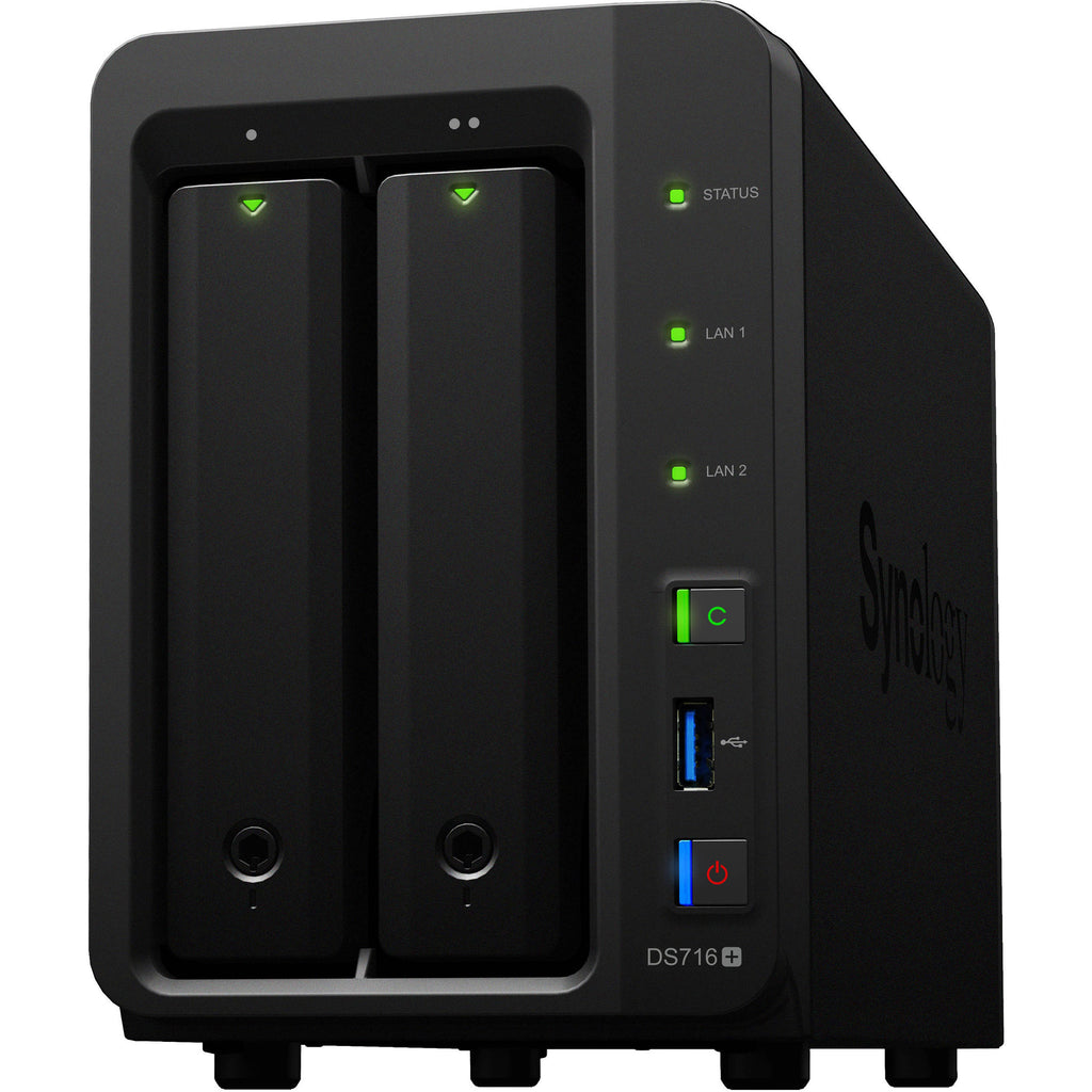 Synology DS716+ 2 Bays (Expandable up to 7 Bays 56TB), quad-core 1.6GHz, turbo up to 2.08GHz, 2GB DDR3 RAM