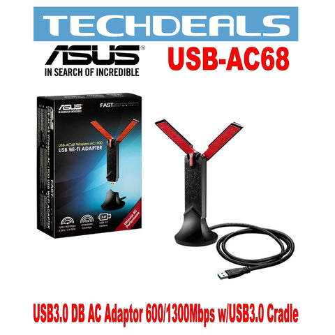 Asus USB-AC68 USB 3.0 Dual-Band AC Adaptor 600/1300 Mbps with USB 3.0 Cradle