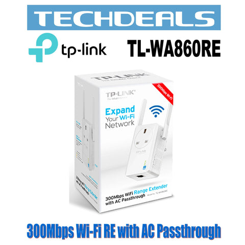 TP-Link TL-WA860RE 300Mbps Wi-Fi Range Extender with Power Outlet Pass-through