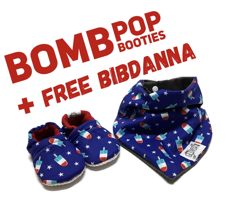 Buy a pair of our Bomb Pop Booties + get a Bomb Pop Bibdanna FREE!