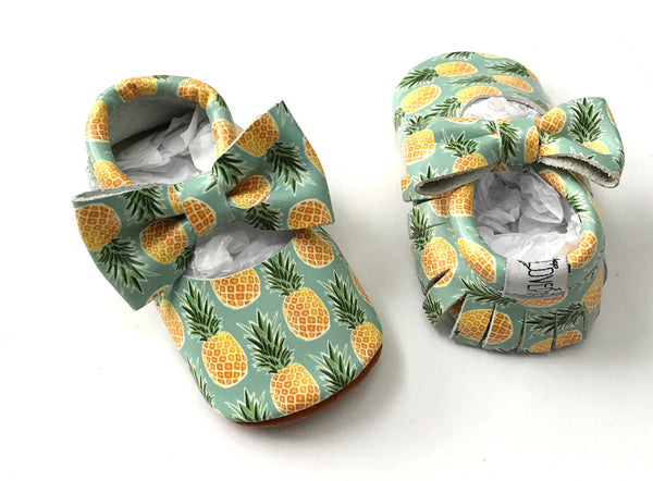 Sweet Pineapple Mary Jane Moccasins