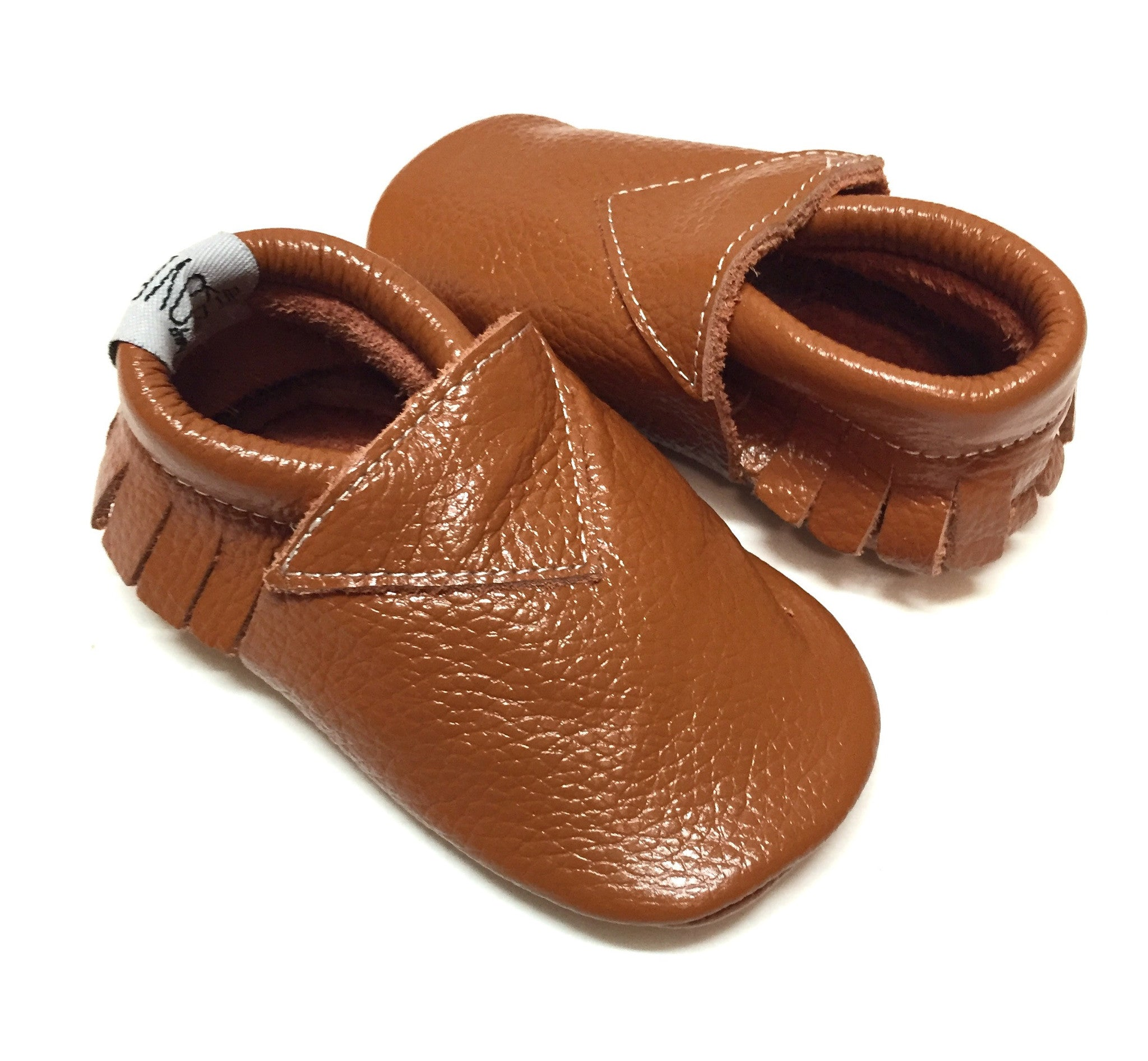 Caramel Brown Fringeless Front Leather Moccasins