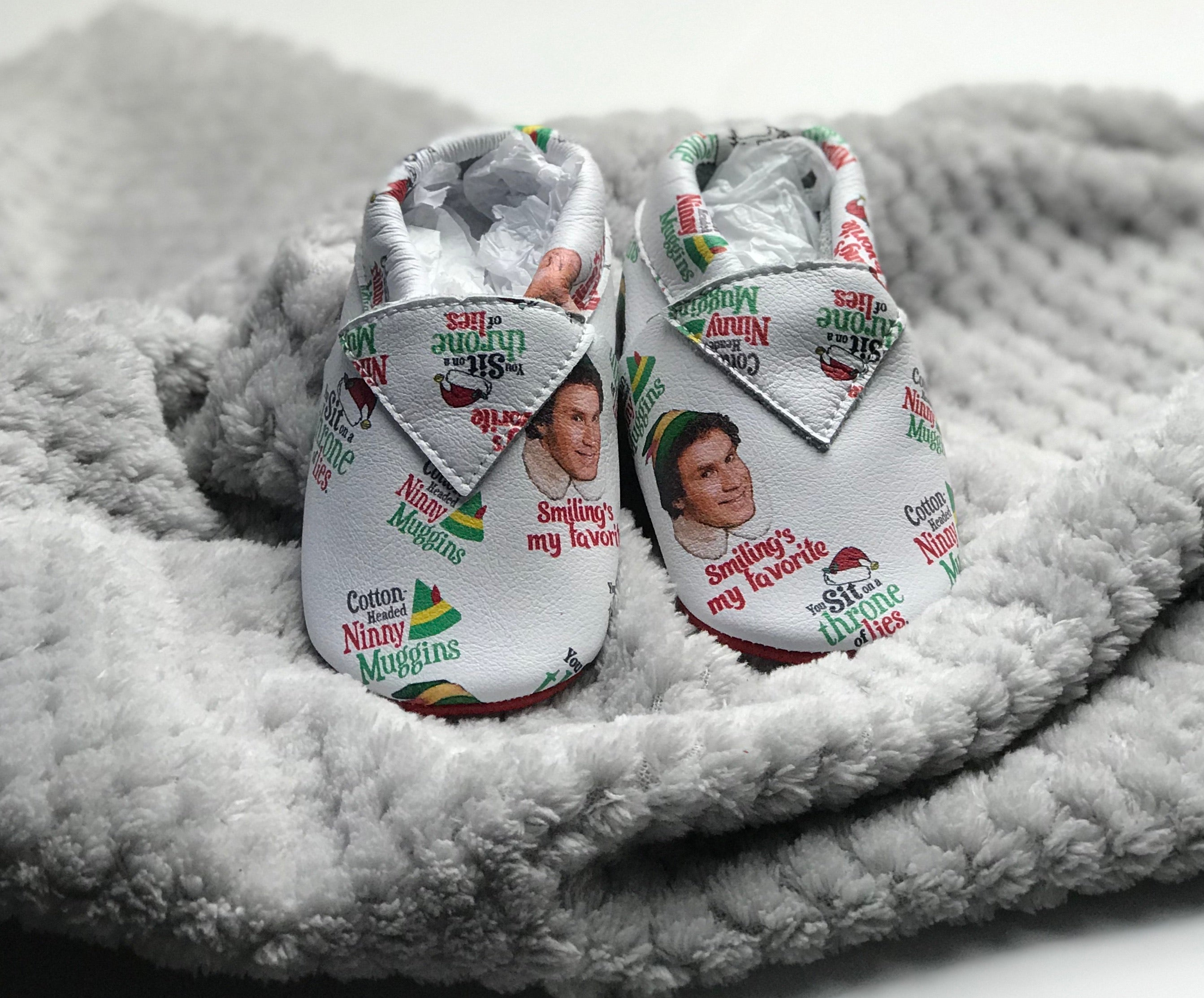 "Christmas ELF Holiday ""Cotton Headed Ninny Muggins"" Baby Leather Moccasins"