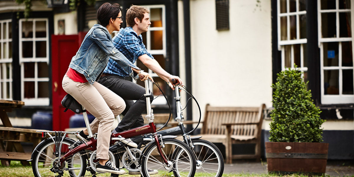 A couple riding Bickerton folding bikes