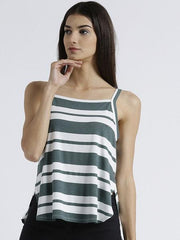 Miway Women's Polyknit green Stripe Casual Top