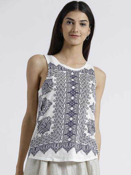 MIWAY WOMEN'S POLYKNIT WHITE PRINTED CASUAL TOP