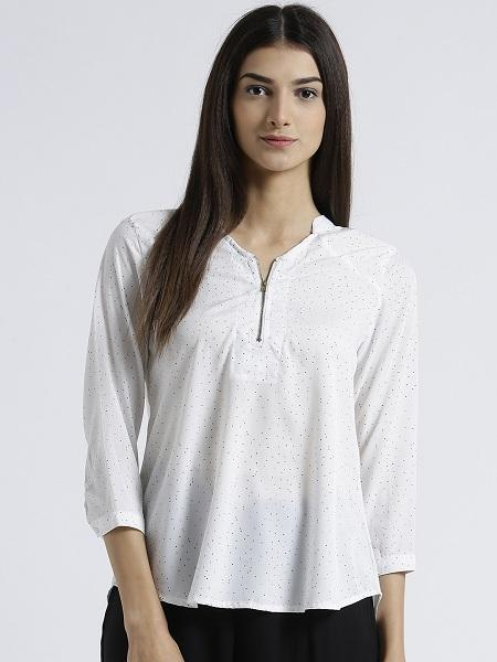 Miway Women's American Crepe White Solid Casual Top - Miway Fashion