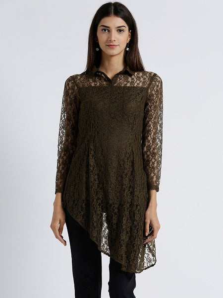 MIWAY WOMEN'S VISCOSE LACE DARK GREEN SOLID CASUAL TUNIC