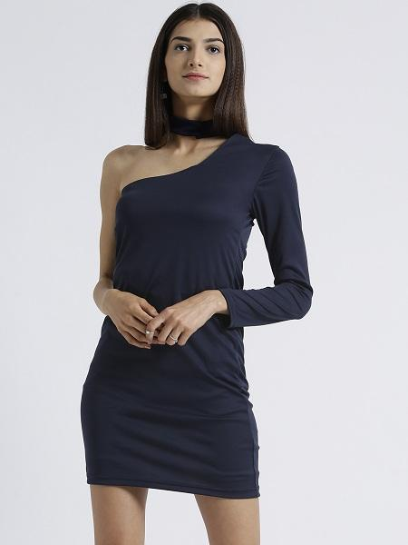 Miway Women's Polyknit Navy Solid Casual Dress - Miway Fashion