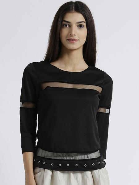 MIWAY WOMEN'S POLYKNIT BLACK SOLID CASUAL TOP