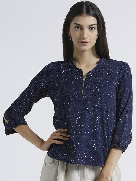 Miway Women's American Crepe Navy Solid Casual Top - Miway Fashion