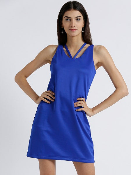 Miway Women's Scuba Royal Blue Solid Casual Dress - Miway Fashion
