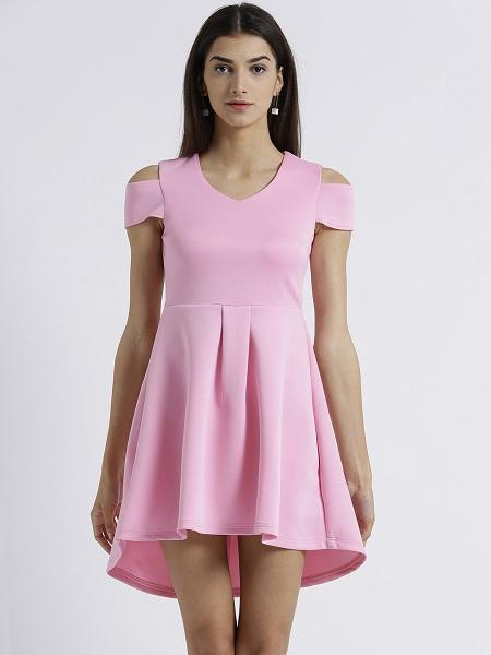 Miway Women's Scuba Pink Solid Casual Dress - Miway Fashion