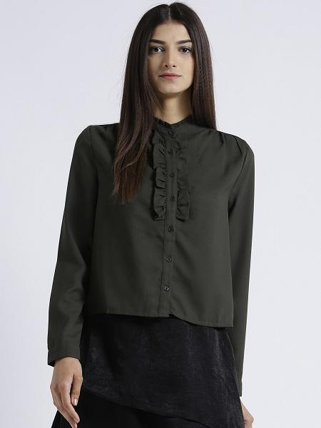 Miway Women's Poly Moss Dark Green Solid Casual Top - Miway Fashion