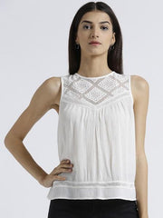 Miway Women's Rayon crepe Off White Solid Casual Top - Miway Fashion