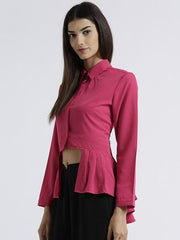 MIWAY WOMEN'S AMERICAN CREPE PINK SOLID CASUAL SHIRT
