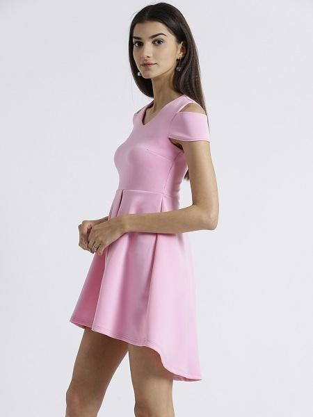 Miway Women's Scuba Pink Solid Casual Dress