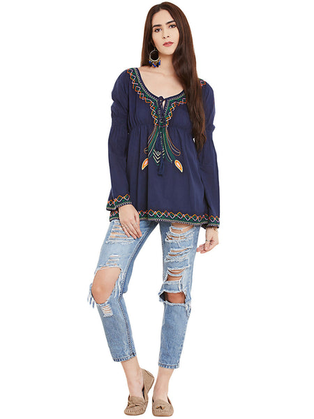BOHO CHIC EMBROIDERED TUNIC - Miway Fashion
