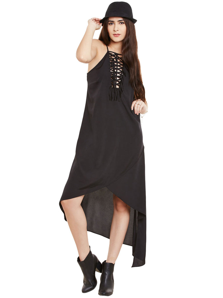 TIE UP ASYMMETRICAL HEM  DRESS - Miway Fashion