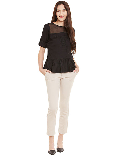 EMBROIDERED PEPLUM  TOP WITH BEADS - Miway Fashion