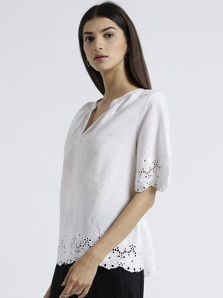 Miway Women's  White Solid Casual Top