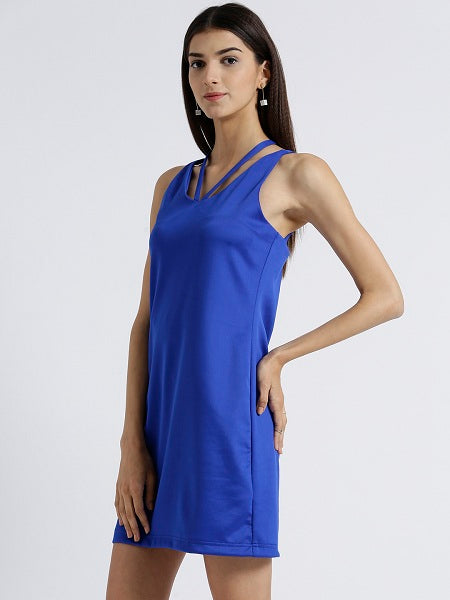 Miway Women's Scuba Royal Blue Solid Casual Dress