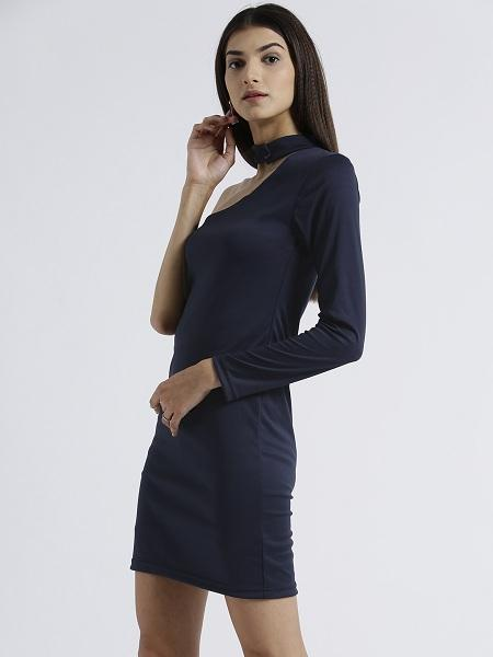 Miway Women's Polyknit Navy Solid Casual Dress