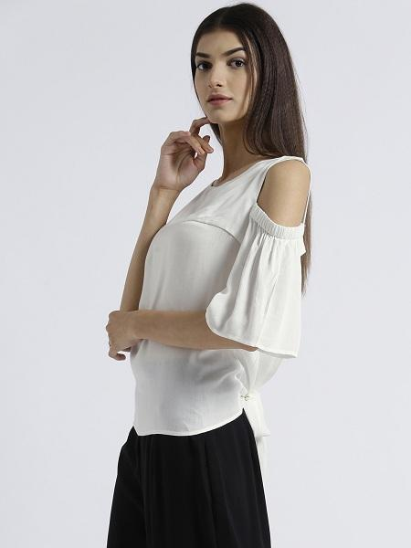 Miway Women's Rayon Off White Solid Casual Top