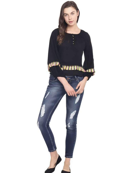 BALLOON SLEEVE WITH FRINGE TOP